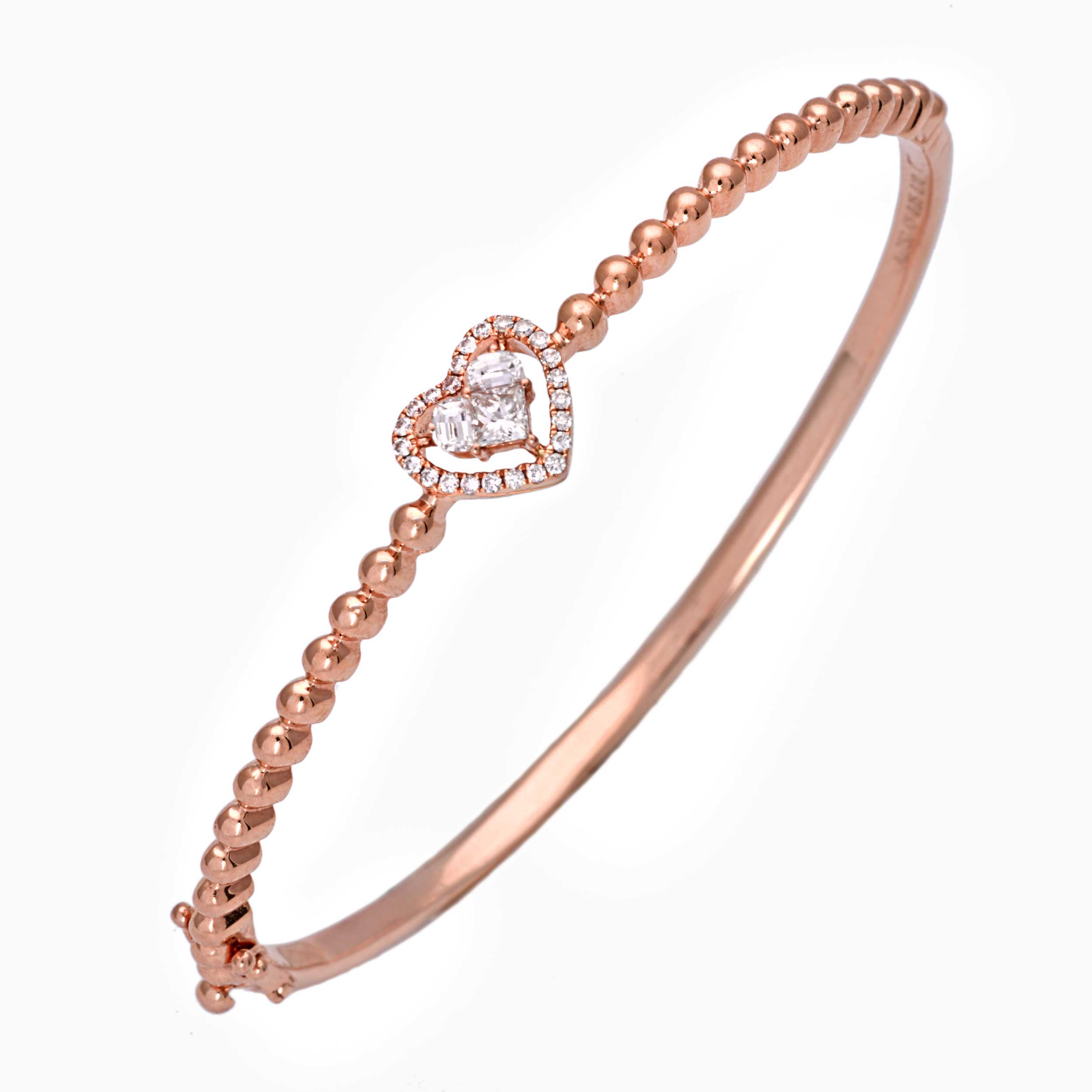 2 Hearts Spiral Hoop Bangle in 18k white gold (Copy)